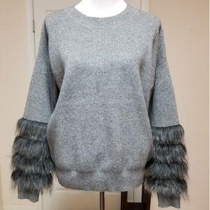 🆕️Solitaire Grey Faux Fur Cuff Sweater